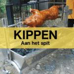 Kippen aan het spit bij Barbecue Budding